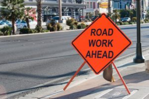 highway construction road work ahead sign